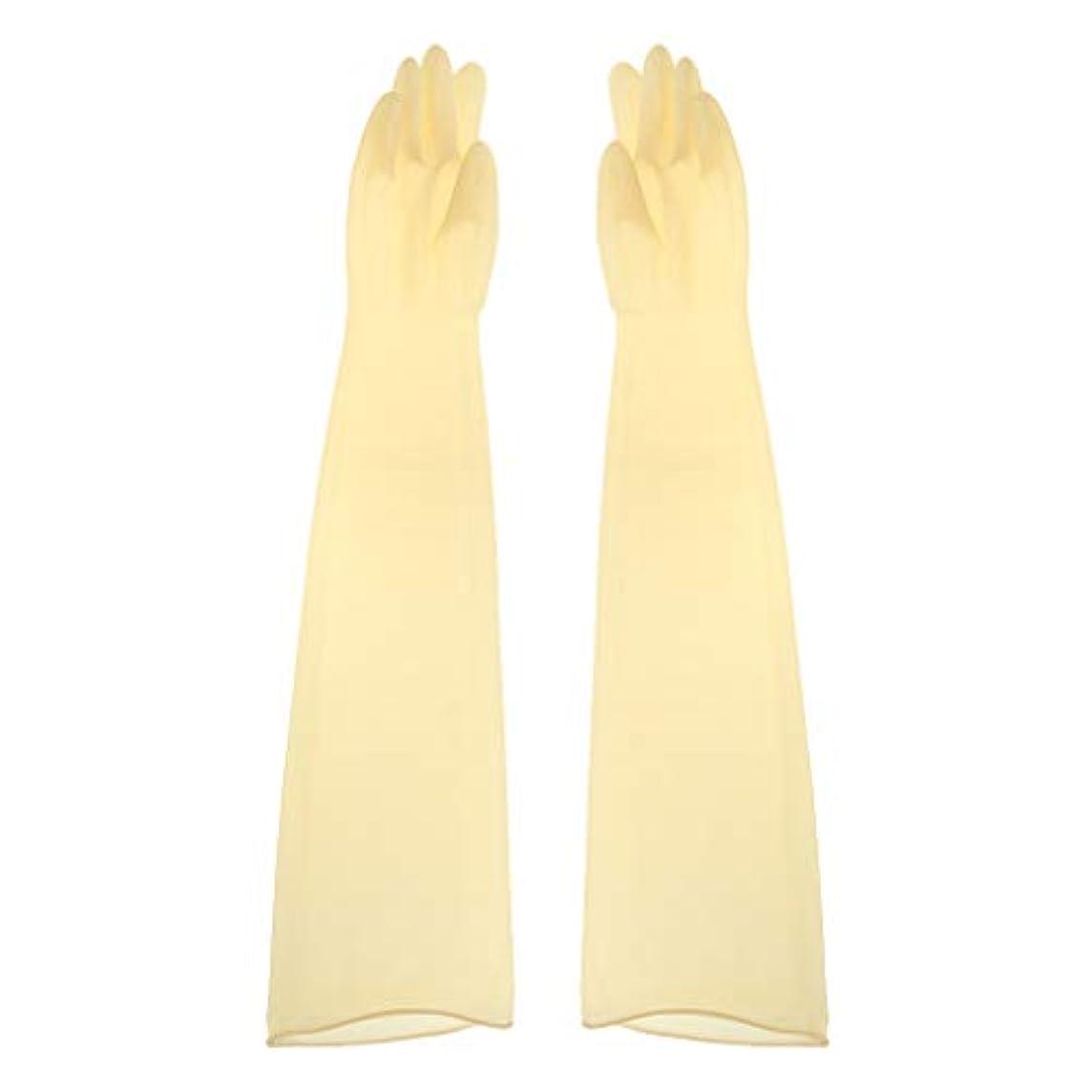 クラッシュ彫刻韓国ゴム手袋 ロング 70cm 耐薬品性 酸?アルカリに強い手袋 ラテックス手袋 1ペア - 700x160x0.8mm