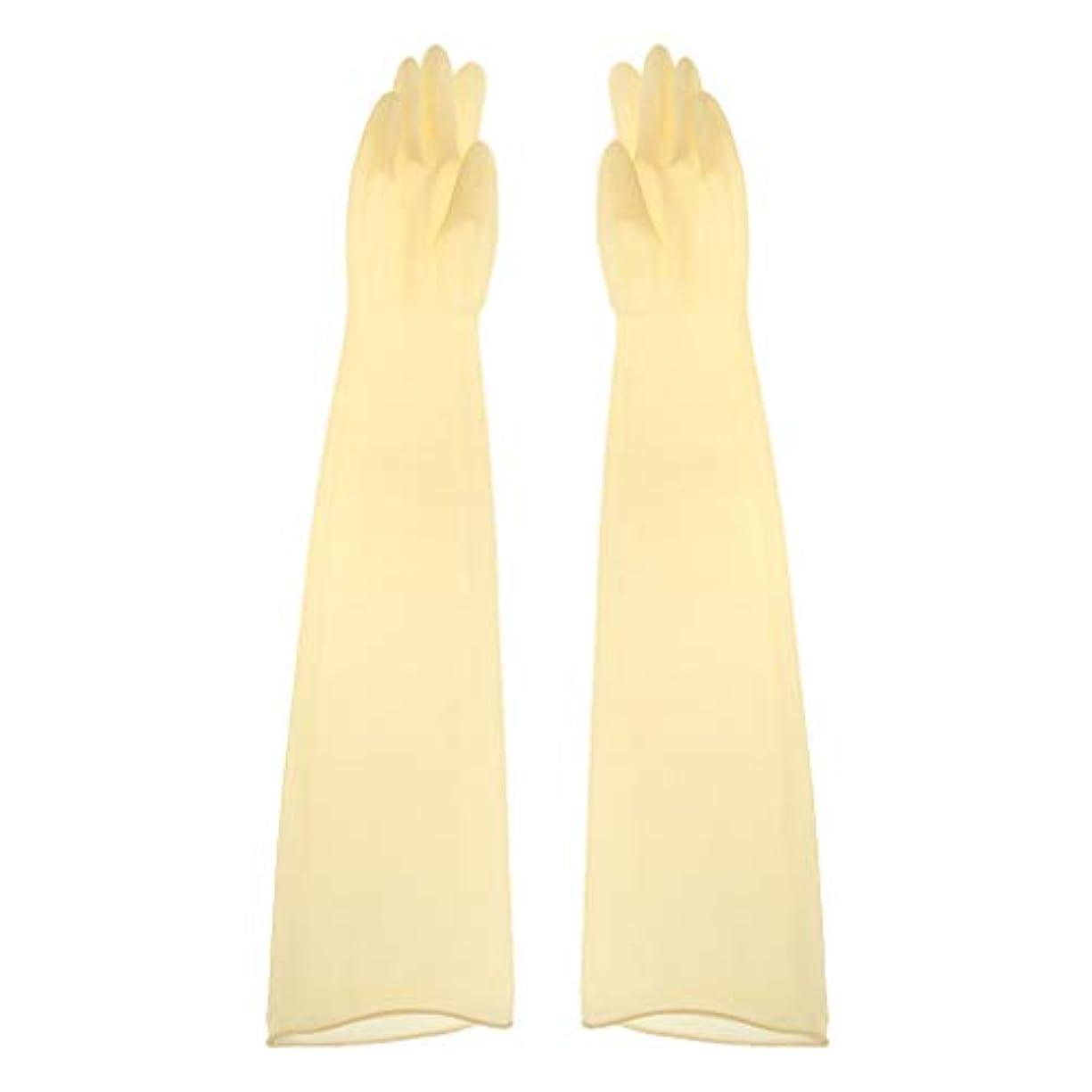 レスリング馬鹿慣性ゴム手袋 ロング 70cm 耐薬品性 酸?アルカリに強い手袋 ラテックス手袋 1ペア - 700x160x0.8mm