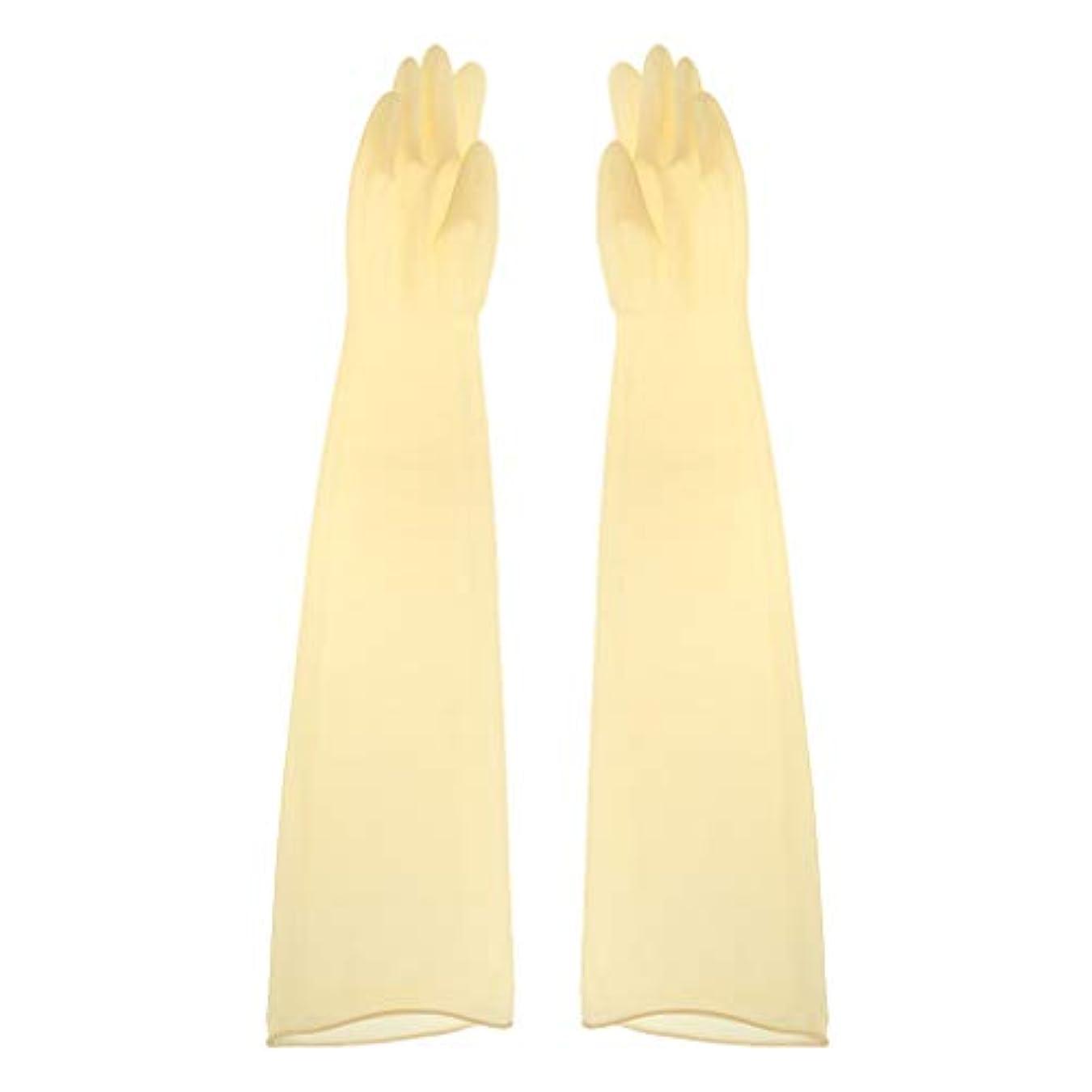 繰り返す期限学習ゴム手袋 ロング 70cm 耐薬品性 酸?アルカリに強い手袋 ラテックス手袋 1ペア - 700x160x0.8mm