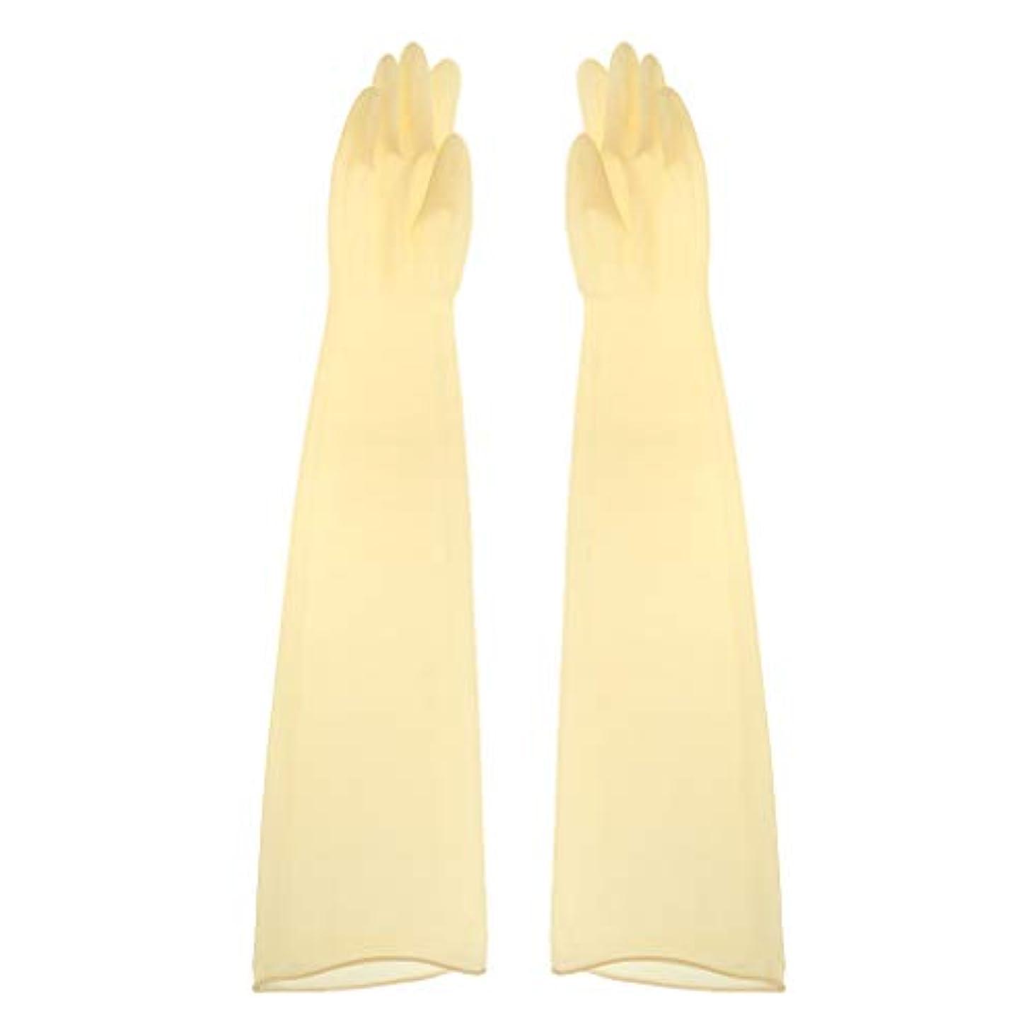 パブ秋参加者ゴム手袋 ロング 70cm 耐薬品性 酸?アルカリに強い手袋 ラテックス手袋 1ペア - 700x160x0.8mm