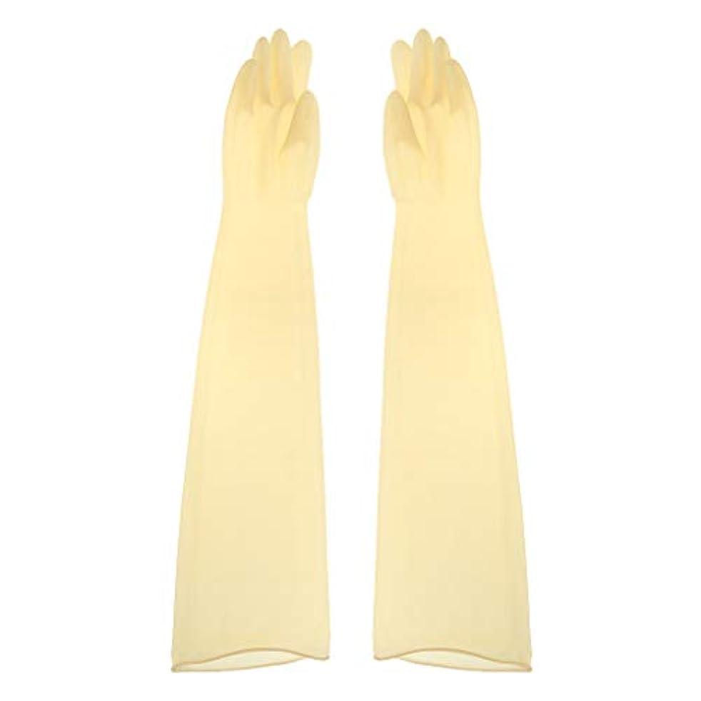 教育者驚くばかり租界ゴム手袋 ロング 70cm 耐薬品性 酸?アルカリに強い手袋 ラテックス手袋 1ペア - 700x160x0.8mm