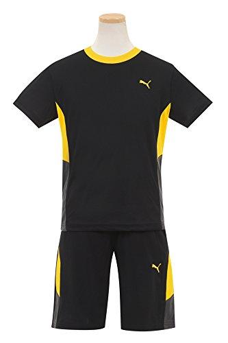 (プーマ)PUMA 半袖Tシャツとハーフパンツ2点セット130cm ブラック×イエロー