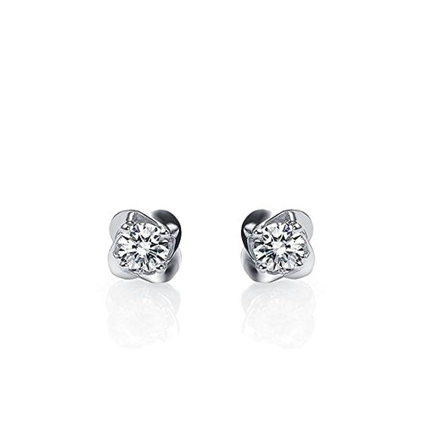 部屋を掃除する狂う締め切りsilvernshine Jewels 14 KホワイトゴールドFNファッションスタッドイヤリングホワイト模造ダイヤモンド