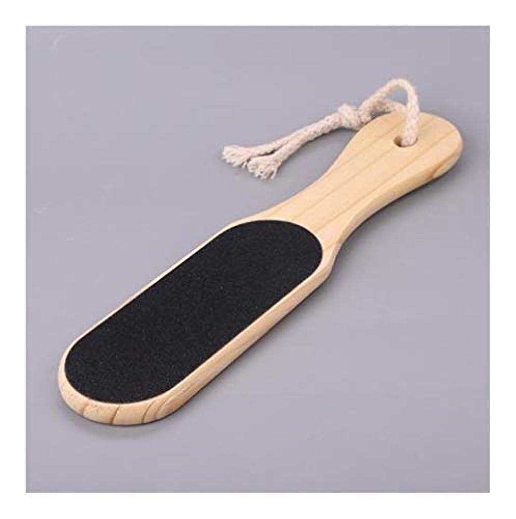 気づくファーザーファージュ強制的Kaiyitong 木製ハンドルステンシル、フットペディキュア美容アーティファクト添加にオールドペディキュアフットペディキュアブラシフットテンダーフットツールで死んだ皮膚のにザ?靴底をダブル両面 ,軽量 (Color : A, Size : 6*16cm)
