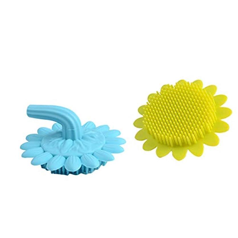 パネルテクニカル有彩色のBeaupretty 2本の赤ちゃん風呂ブラシシリコーンボディブラシ頭皮マッサージブラシ赤ちゃんのためのシャンプーブラシ(グリーン+ブルー)