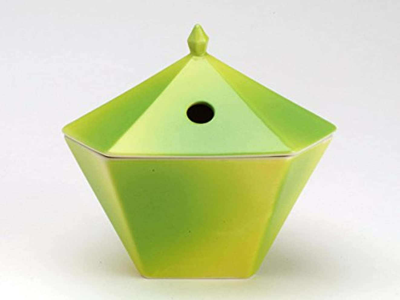 状態千華氏縁香炉 黄緑