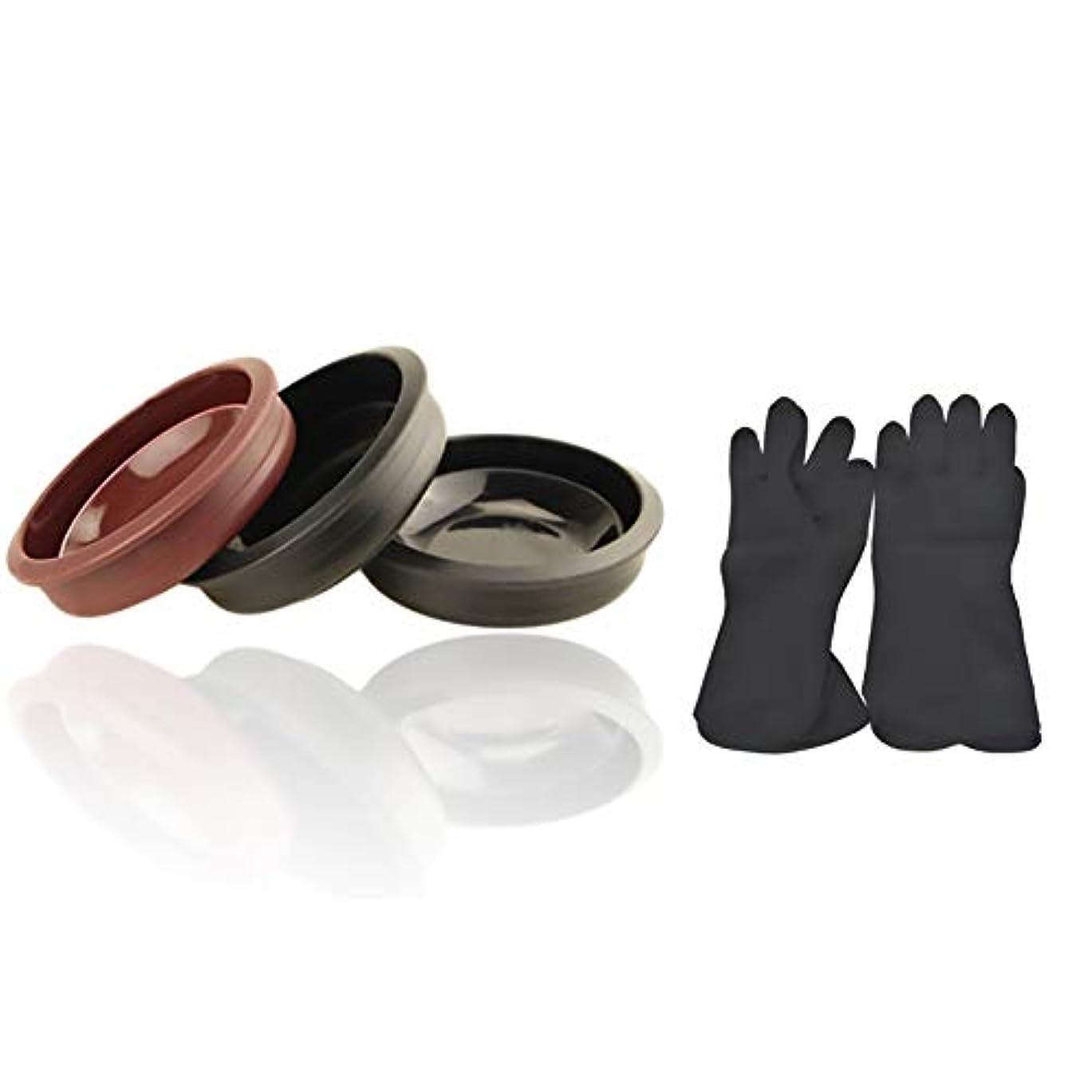 オペレーター肩をすくめるクーポンTofover 3ピースヘアカラーミキシングボウルと20カウントヘアダイ手袋、黒の再利用可能なゴム手袋、ヘアサロンヘア染色のためのプロのヘアカラーツールキット
