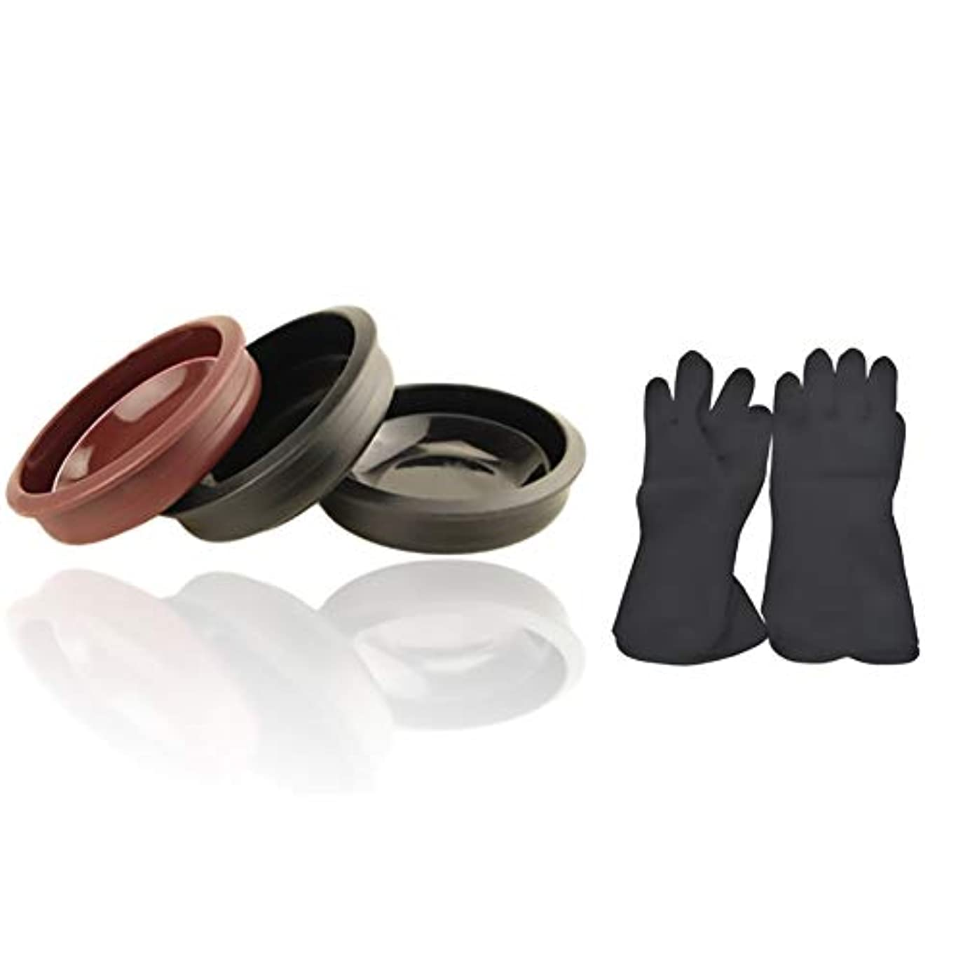 地中海ブランデー首Tofover 3ピースヘアカラーミキシングボウルと20カウントヘアダイ手袋、黒の再利用可能なゴム手袋、ヘアサロンヘア染色のためのプロのヘアカラーツールキット