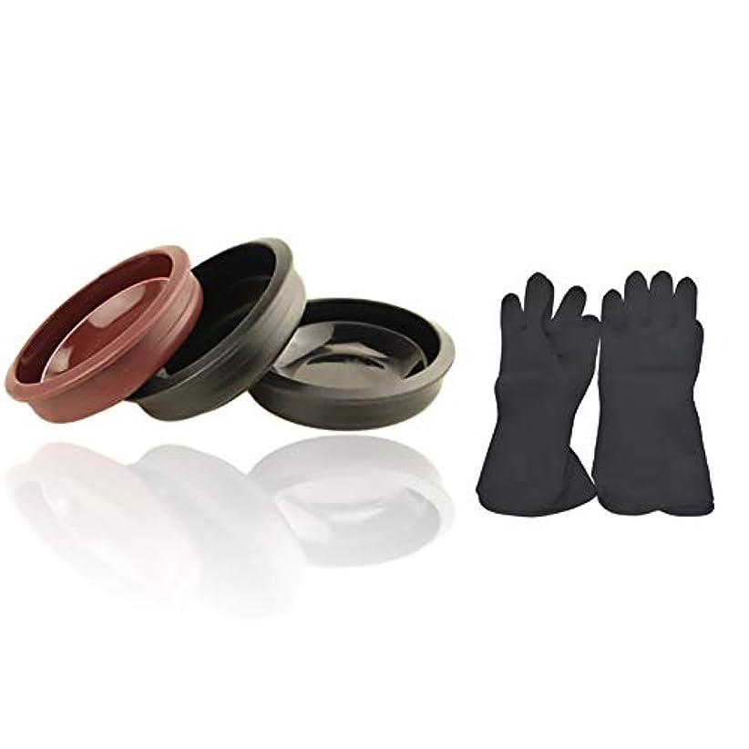 乗って幻滅するヨーグルトTofover 3ピースヘアカラーミキシングボウルと20カウントヘアダイ手袋、黒の再利用可能なゴム手袋、ヘアサロンヘア染色のためのプロのヘアカラーツールキット