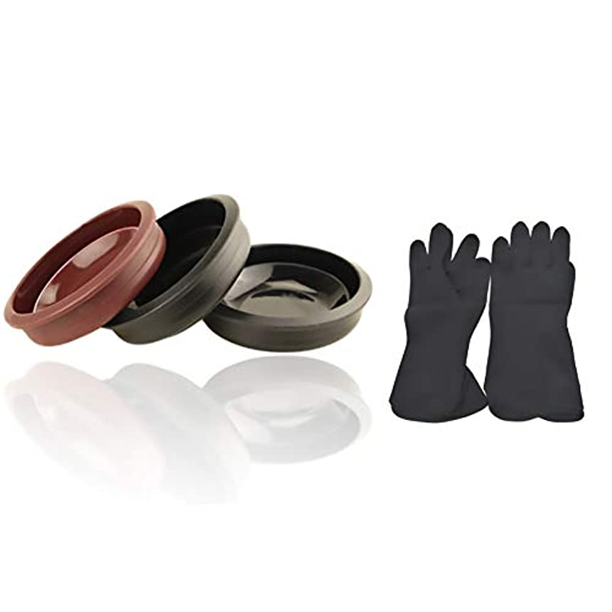 聖書品ゆるくTofover 3ピースヘアカラーミキシングボウルと20カウントヘアダイ手袋、黒の再利用可能なゴム手袋、ヘアサロンヘア染色のためのプロのヘアカラーツールキット