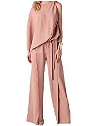 Tootess 女性ストラップ付きスモークウエストフレアシャツ2ピース衣装ジャンプスーツ
