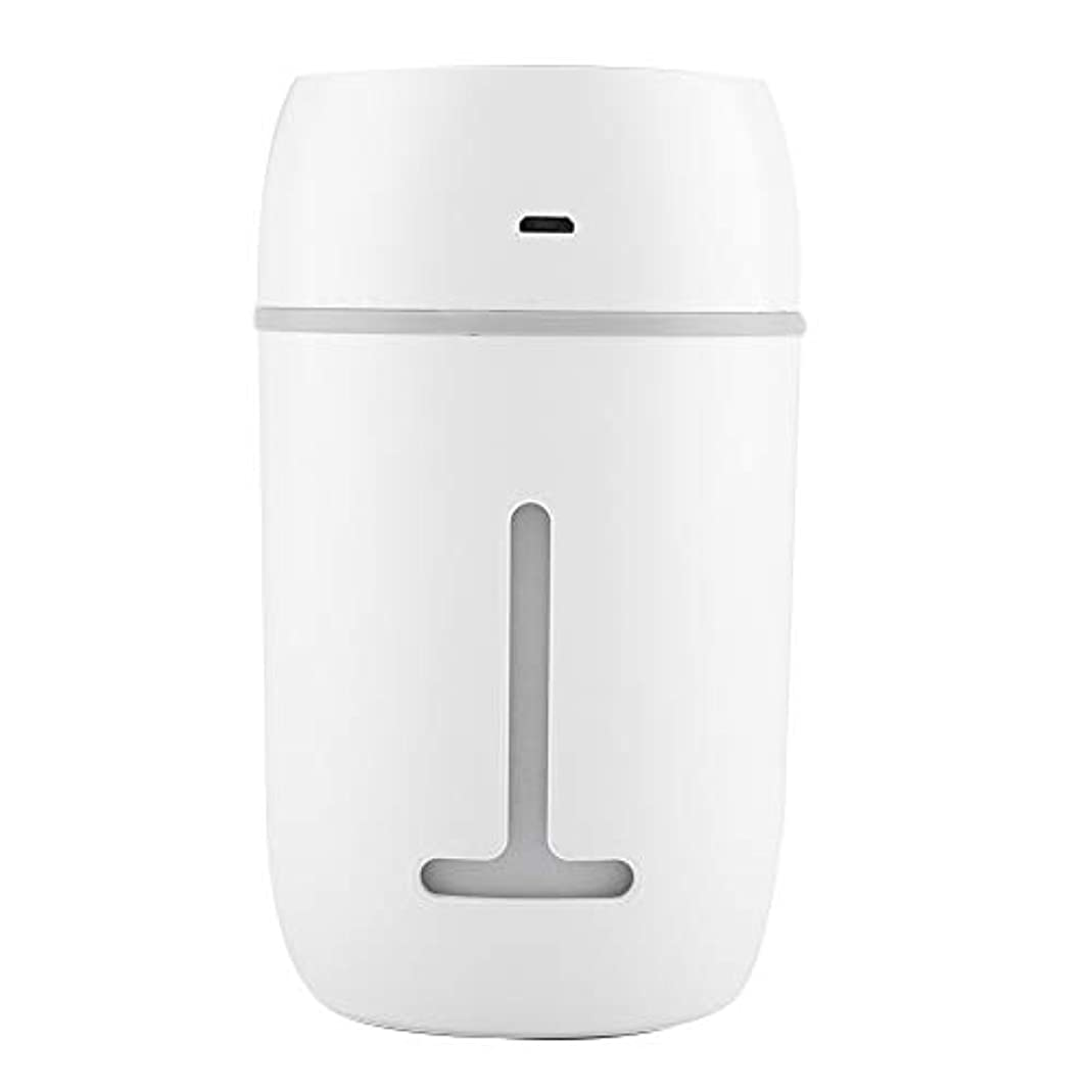 漏斗鉛杖ミニUSB加湿器、超音波クールミスト加湿器充電式ポータブルカーオフィス加湿器ディフューザー7色LEDライト