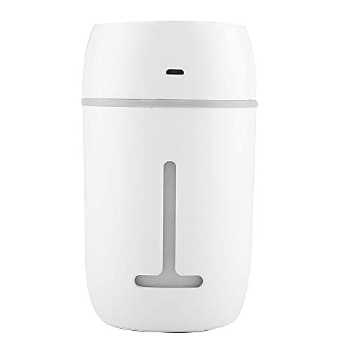 桃一回解釈するミニUSB加湿器、超音波クールミスト加湿器充電式ポータブルカーオフィス加湿器ディフューザー7色LEDライト