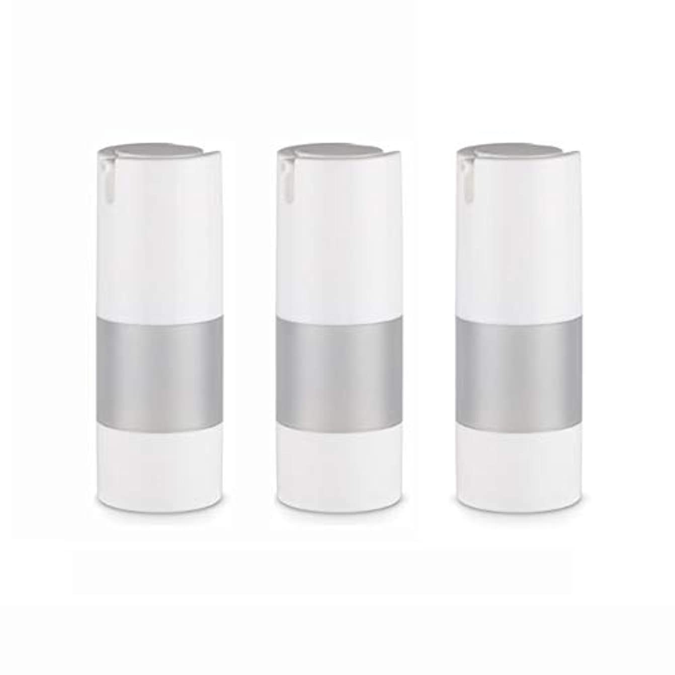 ふりをするインストール些細小分けボトル 乳液 3本セット ディスペンサー ボトル シャンプー ボディーソープ ポンプボトル 真空 ボトル 詰替用ボトル 旅行用 (乳液15ml)