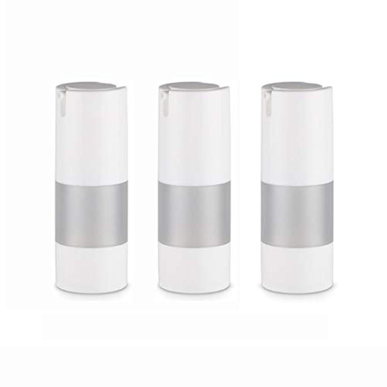 爆発物時代遅れ運ぶ小分けボトル 乳液 3本セット ディスペンサー ボトル シャンプー ボディーソープ ポンプボトル 真空 ボトル 詰替用ボトル 旅行用 (乳液15ml)