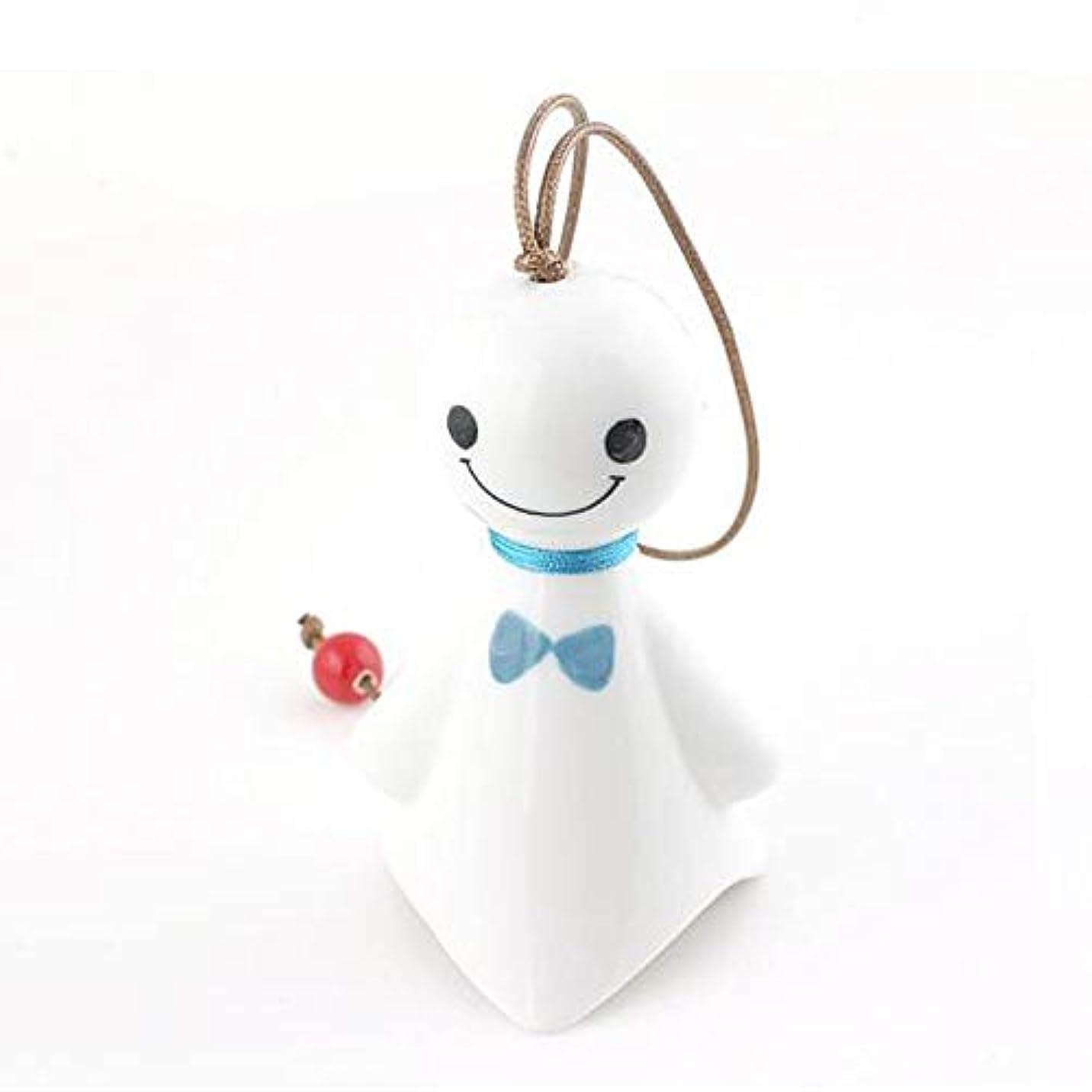 朝中絶高齢者Hongyuantongxun 風チャイム、クリエイティブ?陶磁器人形風の鐘、ブルー、6CMについて全長,、装飾品ペンダント (Color : Blue)