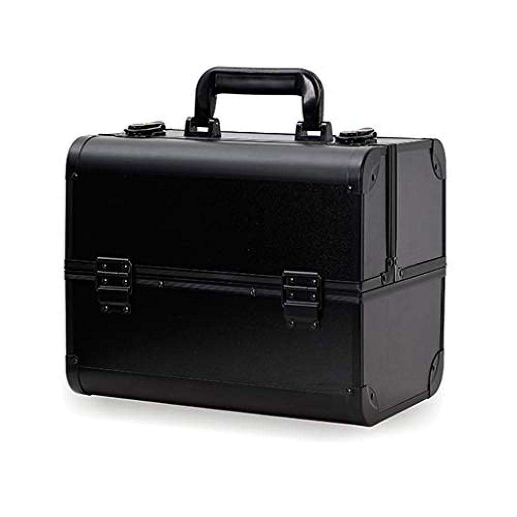 ストライク笑い多数のメイクボックス コスメボックス 大容量 2段 化粧ボックス プロ 収納力抜群 鍵付き 洗える 肩掛け かわいい プレゼント 彼女友達へ 取っ手付 コスメBOX ブラック L