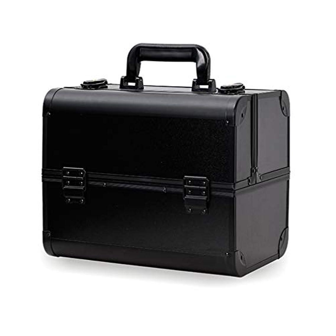 視力パントリー判決メイクボックス コスメボックス 大容量 2段 化粧ボックス プロ 収納力抜群 鍵付き 洗える 肩掛け かわいい プレゼント 彼女友達へ 取っ手付 コスメBOX ブラック L