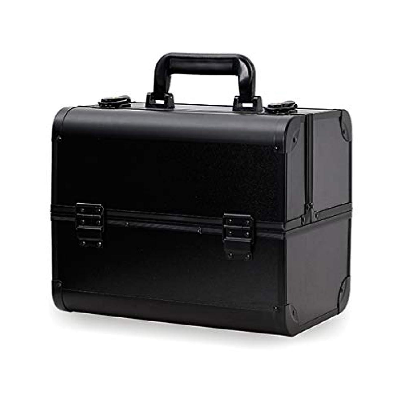 西へこみためらうメイクボックス コスメボックス 大容量 2段 化粧ボックス プロ 収納力抜群 鍵付き 洗える 肩掛け かわいい プレゼント 彼女友達へ 取っ手付 コスメBOX ブラック L