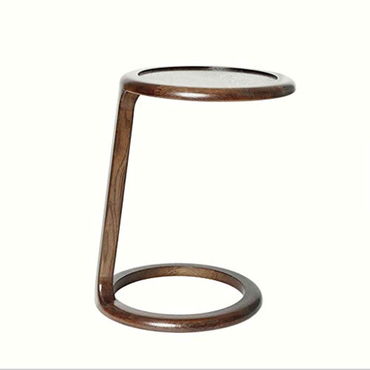 家畜受け皿日帰り旅行にHY 小さなサイドテーブルラウンドウッドのリビングルームバルコニーミニコーヒーテーブル (色 : Walnut color)