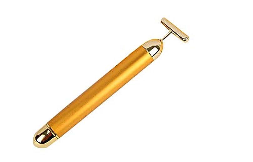打倒管理します寄り添う24 kゴールド美容バーフェイシャルローラーマッサージ振動スキンケアマッサージアンチエイジング肌ツールを引き締め