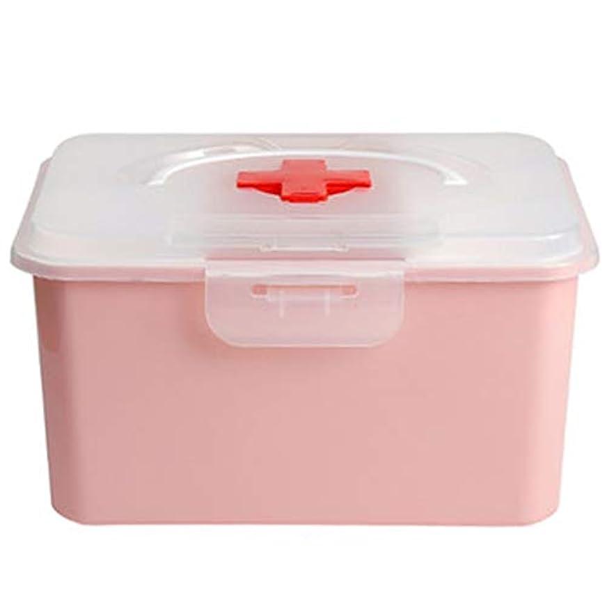教育者住むトーストLLSDD 医療応急処置キット家庭用薬ボックス収納ボックスポータブル大容量多層収納ボックス (Color : Pink)
