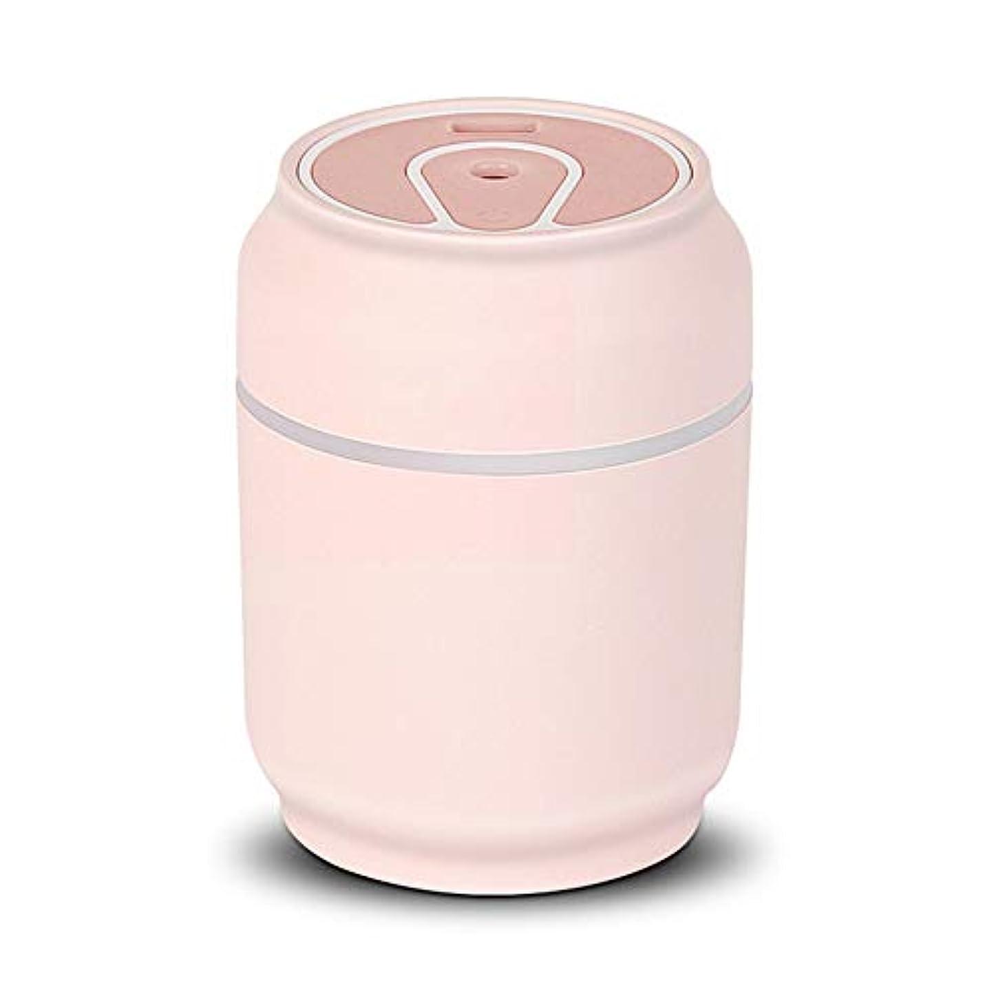 小石記念碑一握りZXF 新しいクリエイティブ缶シェイプUSB充電加湿器ミュート漫画ミニASB素材ナイトライトファン3つ1つの水分補給器具蒸し顔黒緑ピンク黄色 滑らかである (色 : Pink)