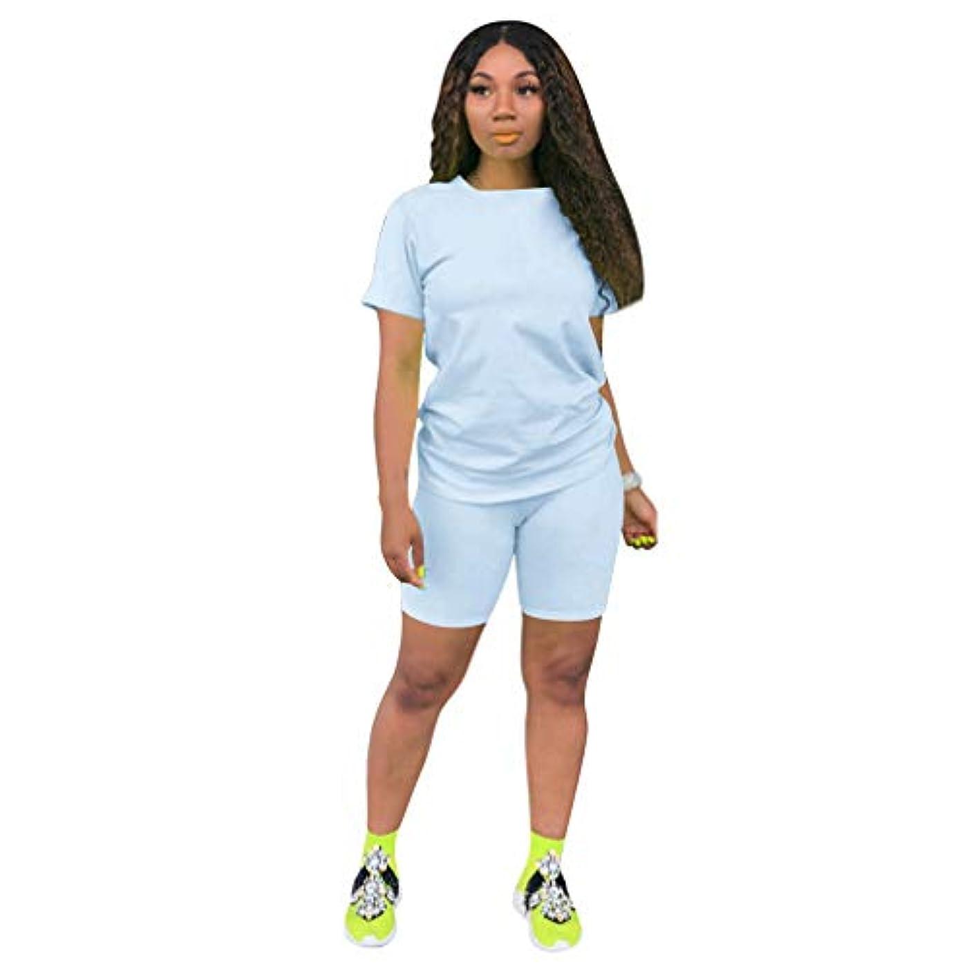 一貫性のない連合素敵な女性のツーピース服トラックスーツセット - カジュアルストレッチショートスリーブシャツトップスキニーショートパンツジョギングYoggaスポーツ,Light blue,XXXL