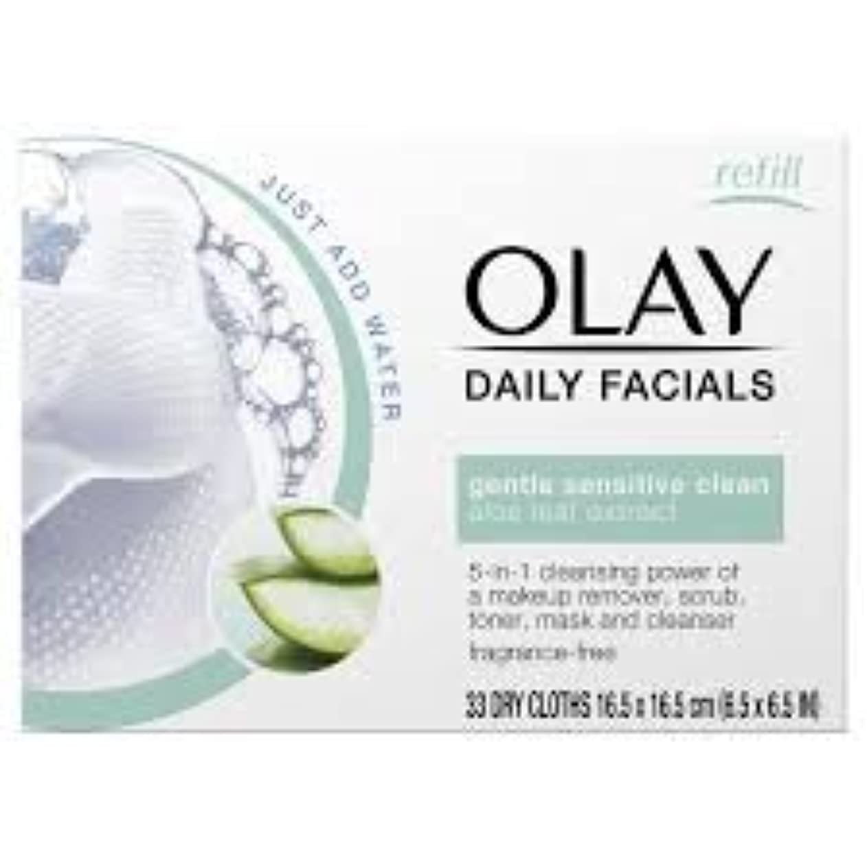 飛行機エゴマニア回復するOLAY Daily Facials Water Activated Dry Cloths 5 in 1 Cleansing Power