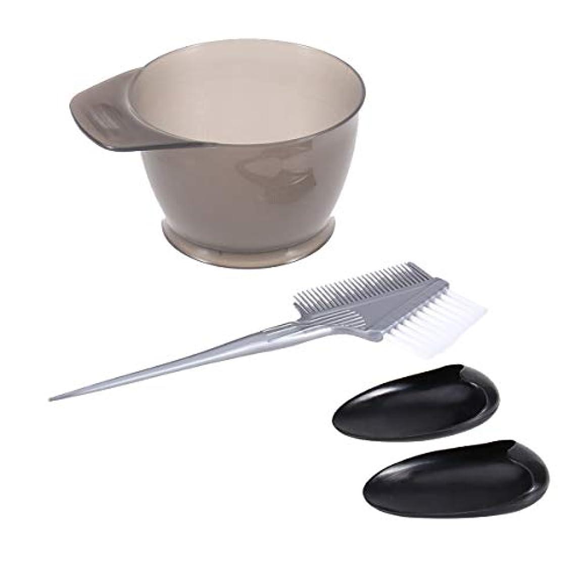 装置乳白色魔法Frcolor ヘアダイブラシ ヘアカラーカップ 毛染め用耳カバー ヘアダイコーム 4点セット 家庭用 美容師プロ用 プラスチック製