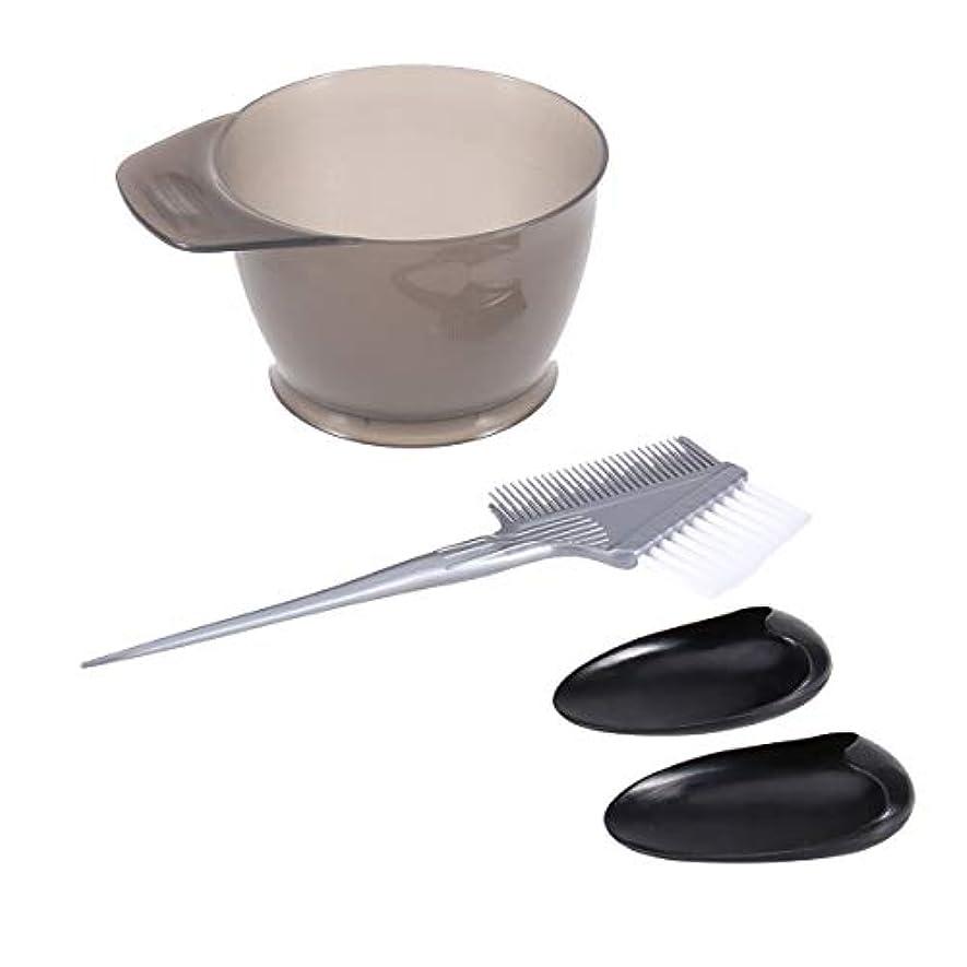 Frcolor ヘアダイブラシ ヘアカラーカップ 毛染め用耳カバー ヘアダイコーム 4点セット 白髪染め 家庭用 美容師プロ用 プラスチック製