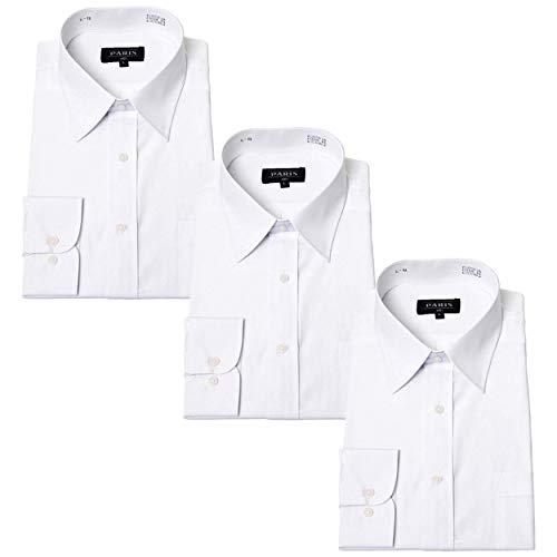 (パリス) PARIS ワイシャツ 白 形態安定 レギュラー ホワイト 長袖 ワイシャツ 白シャツ 3枚 セット メンズ ビジネス ブランド 綿35% 生地が薄くない ゆったり着れる Yシャツ LL