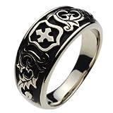 【ホワイトメタルアクセサリー リング・指輪】 エンブレム リーフ メンズアクセサリー cenote-r5007