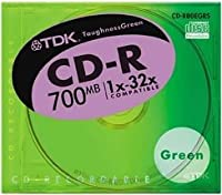 TDK CD-Rデータ用700MB 32倍速 グリーン 10mm厚ケース入り [CD-R80EGRS]