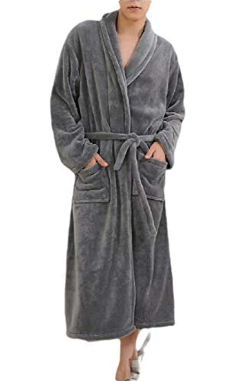 第二守る思いやりのあるmaweisong Men Loose Fleece Kimono Spa Bathrobe Fleece Spa Robe with Pockets