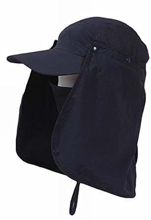 UVカット帽子 紫外線対策に  取り外し可能日よけ付き ネイビー