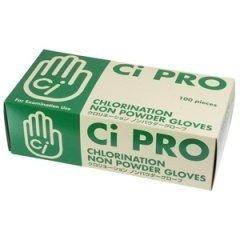 Ci PROグローブ クロリネーション ノンパウダーグローブ(W塩素処理ラテックスグローブ) Sサイズ 1箱(約100枚)