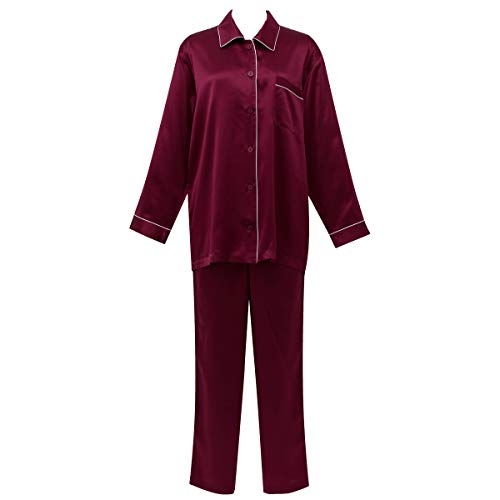 ワコール 睡眠科学 シルクサテン 女性用 シャツパジャマ YDX508 L REワインレッド