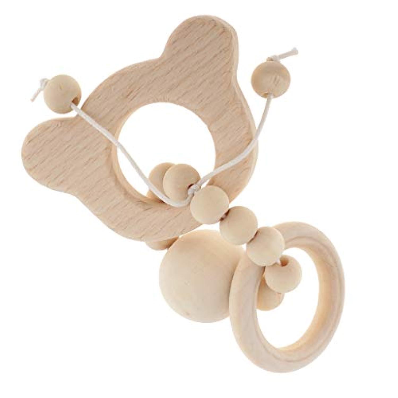 B Baosity 赤ちゃん 歯がためおもちゃ 歯がため玩具 木玩具 天然木製の歯がためのおもちゃ 全7種類 - スタイル1-Bear