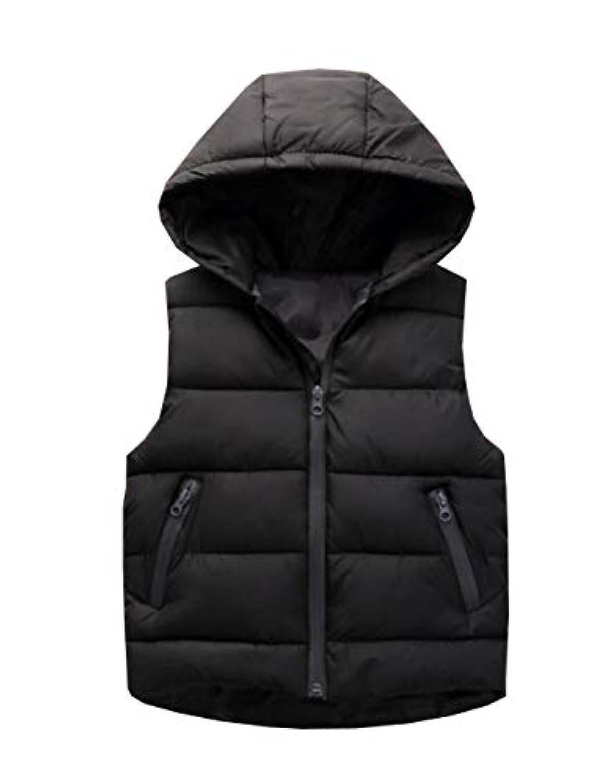 [ジャング] 子供服 中綿ベスト キッズ用 アウター 女の子 男の子 フード付き 秋冬ベスト 防寒