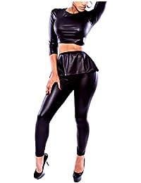 AngelSpace 女性高ウエストファルカラbodyconナイトクラブパンツ+シャツセット