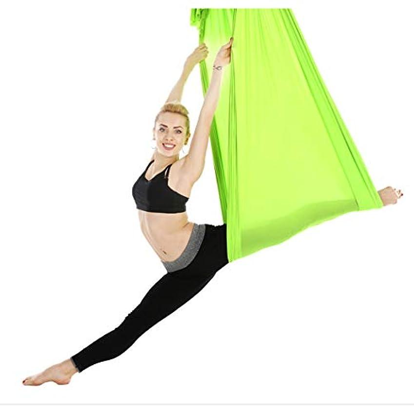 差別化するロマンス画家ヨガハンモックヨガストラップ逆重力ストレッチファミリーヨガジムスリングスリングサテン5 * 2.8メートル (色 : 緑, サイズ さいず : 5*2.8m)
