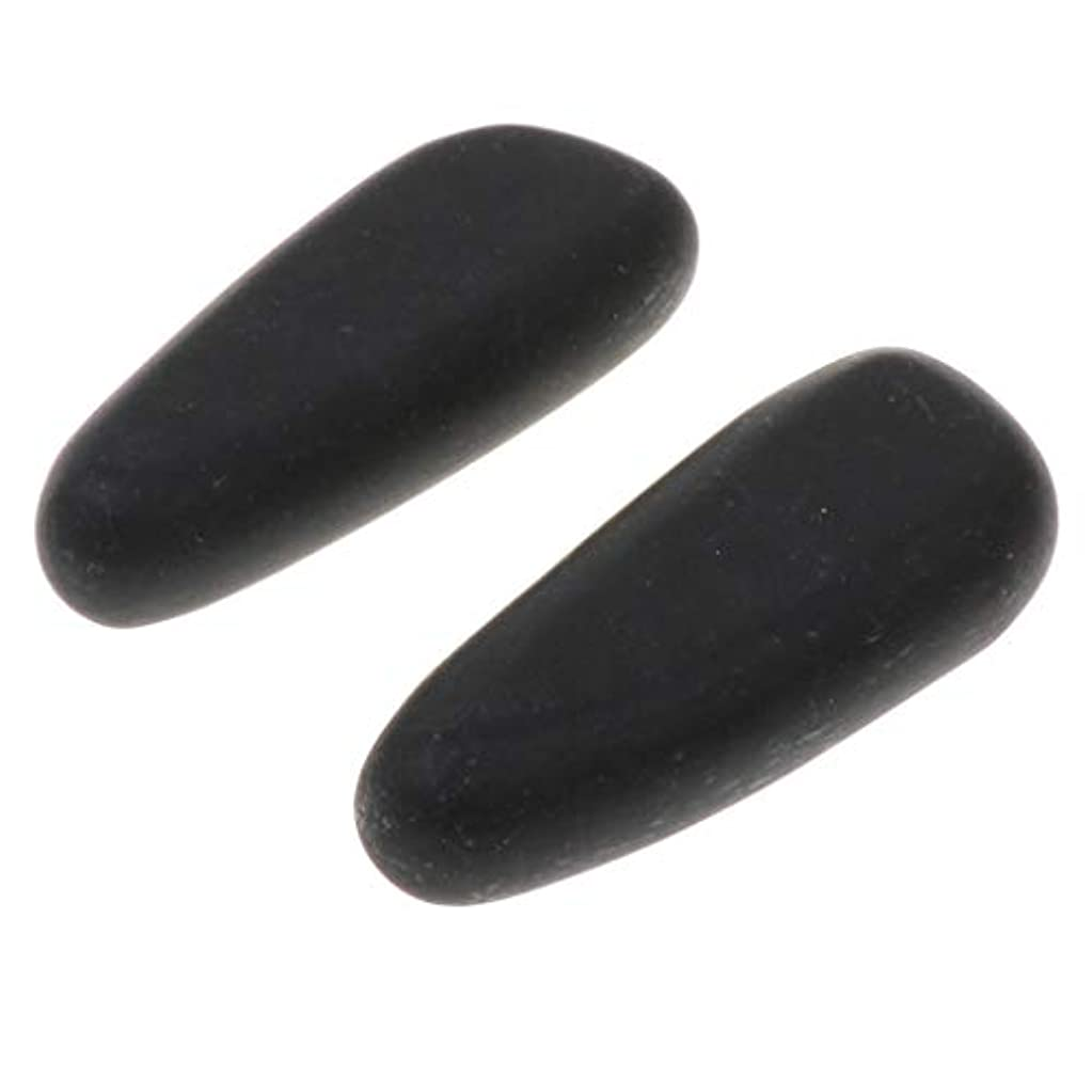 ちらつき十分な待って天然石ホットストーン マッサージ用玄武岩 マッサージストーン ボディマッサージ 実用 2個 全2サイズ - 8×3.2×2cm