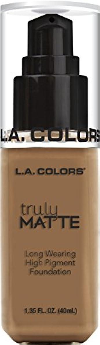 コール正午服L.A. COLORS Truly Matte Foundation - Deep Tan (並行輸入品)