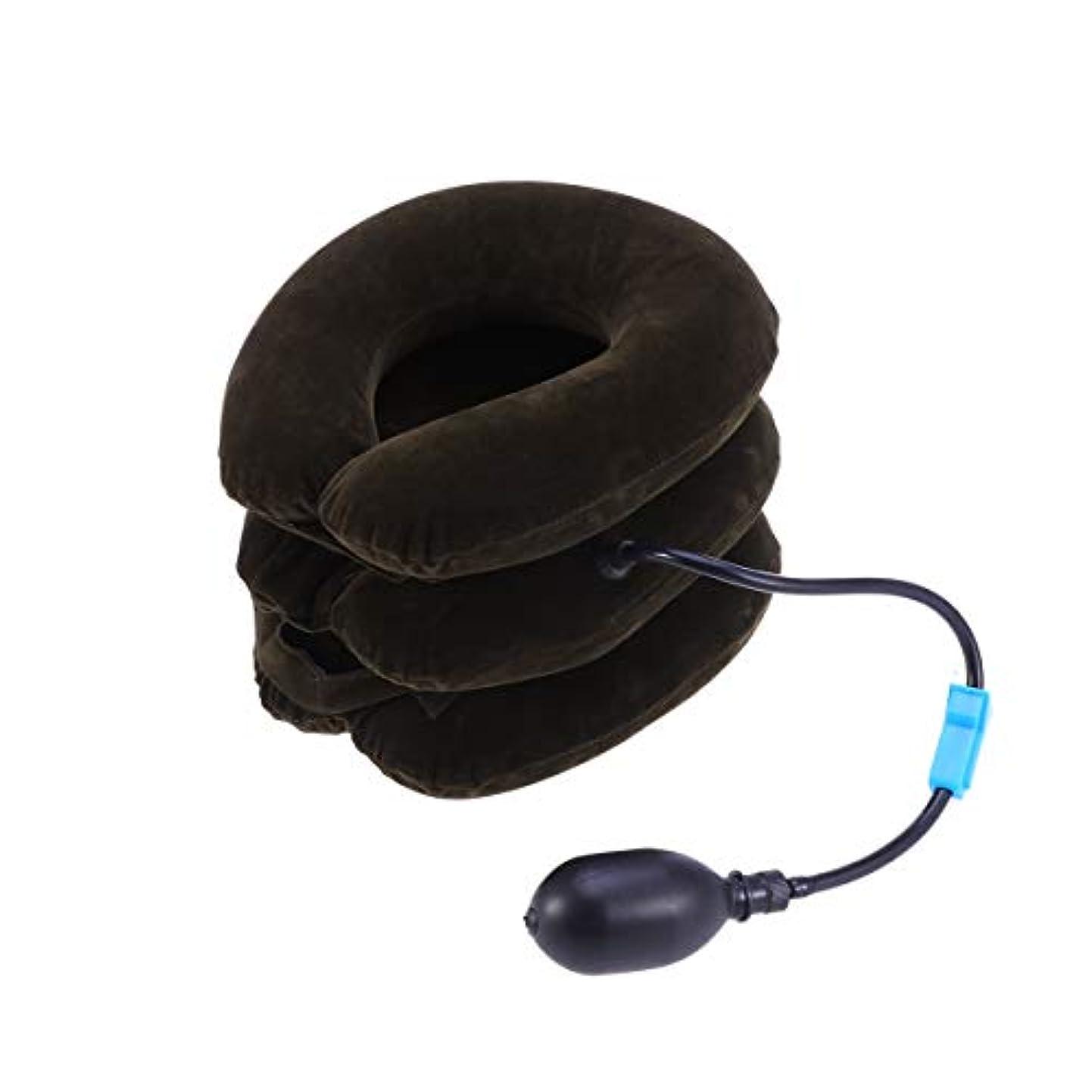 支援する強調排気ポンプ首のマッサージャーが付いている膨脹可能な頚部首の牽引つばの三層の装具の椎骨サポートベルト