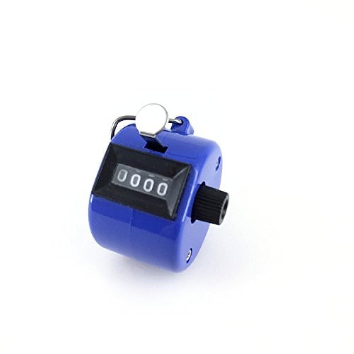 時間厳守キャラバン活発エクステカウンター 手持ちホルダー付き 数取器 まつげエクステ用品 カラー4色 (ブルー)