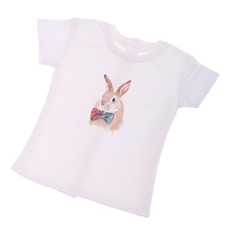 Prettyia ホワイト コットン ドールTシャツ ドール服 1/3 1/4 BJD SD LUTSドルフィードール対応 2サイズ選択 - サイズ2