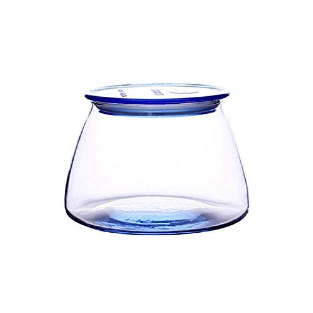 鉛筆遠洋の整理するファッションシーリングストレージジャーフードグレイン防湿透明ガラス瓶コーヒーコーヒーシール収納缶 (容量 : Blue 500ml)
