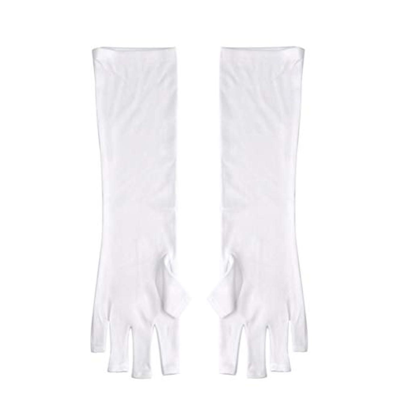 プレゼン申し立てる宿題をするFrcolor ネイルUVシールド手袋 ネイルアートグローブ 紫外線防止 マニキュア抗UVグローブ 半指 手保護 マニキュアドライヤーツール