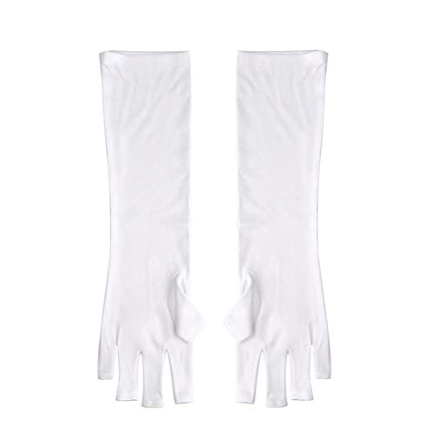 伝導率スラックびっくりするFrcolor ネイルUVシールド手袋 ネイルアートグローブ 紫外線防止 マニキュア抗UVグローブ 半指 手保護 マニキュアドライヤーツール